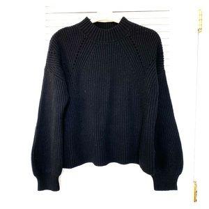GAP Black Chunky Mock Neck Balloon Sleeve Sweater